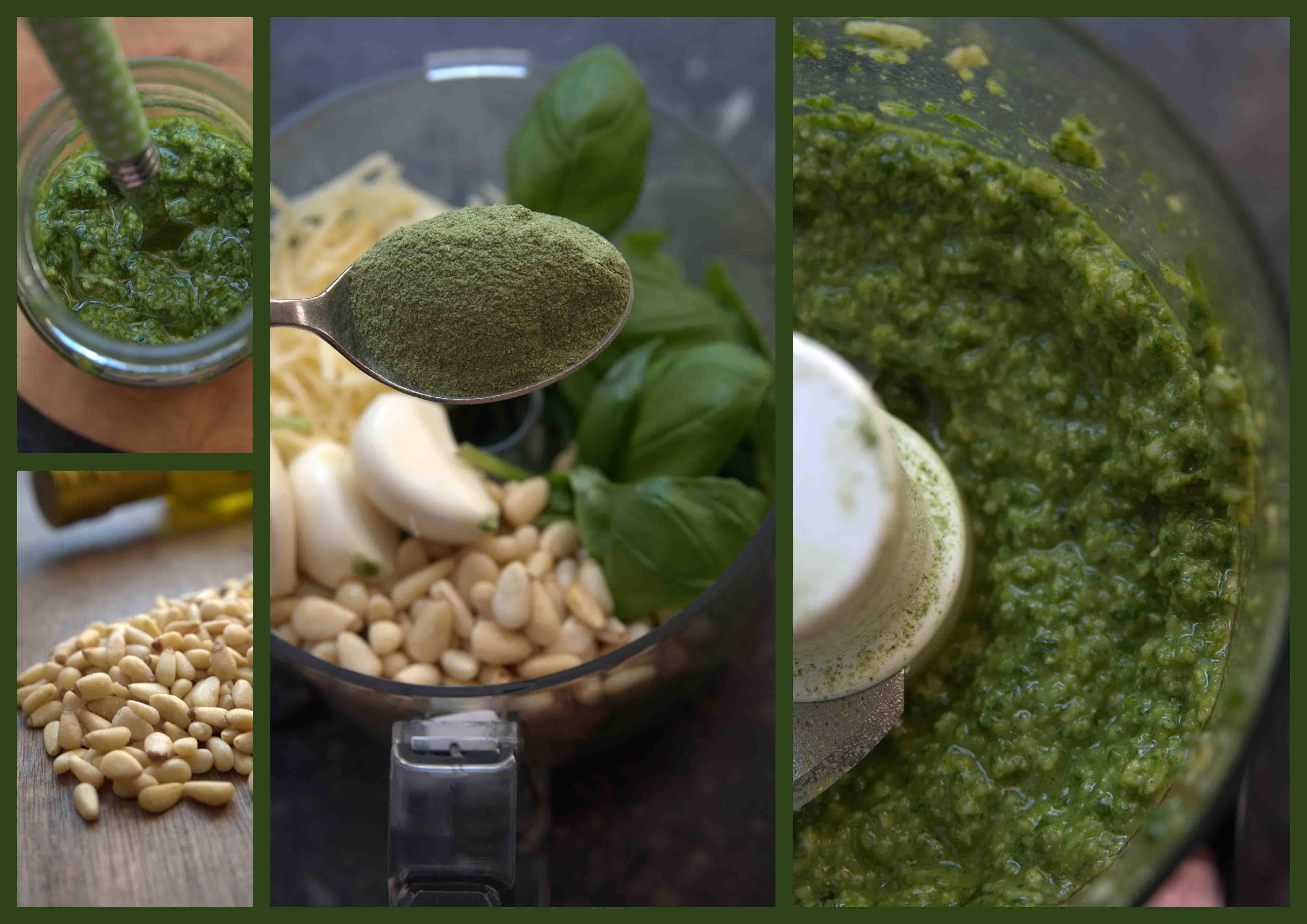 Verse basilicum, Knoflook, Pijnboompitten, Parmezaanse kaas, spinazie poeder, olijfolie