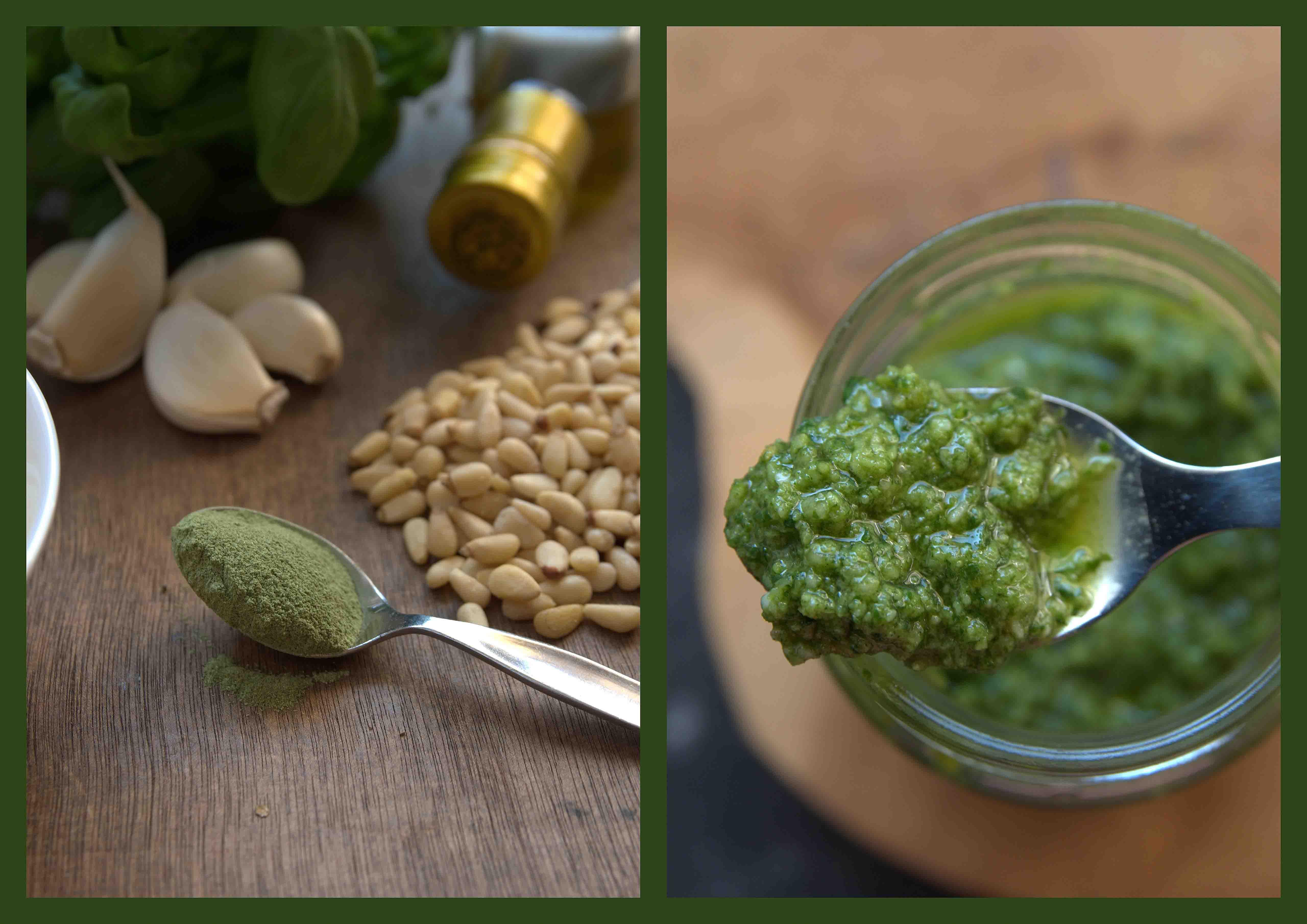 Het recept van homemade basilicum pesto